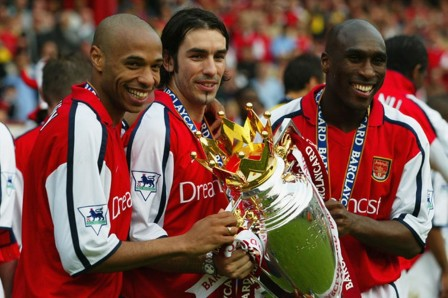 March Thierry Henry Robert Pires And Sol Campbell Of Arsenal Celebrate Winning The League At Highbury Against Everton