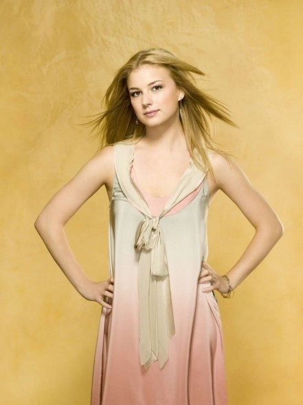 Emily Vancamp In Satin Tassel Dress With Tie Front Photo