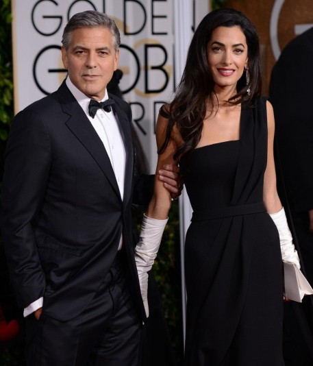 Golden Globes Amal Clooney White Gloves Are This Year Angelina Jolie Leg Pose