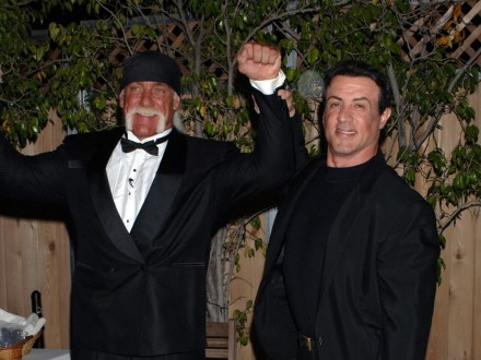 Wallpaper With Sylvester Stallone In Black Suit And Hulk Hogan