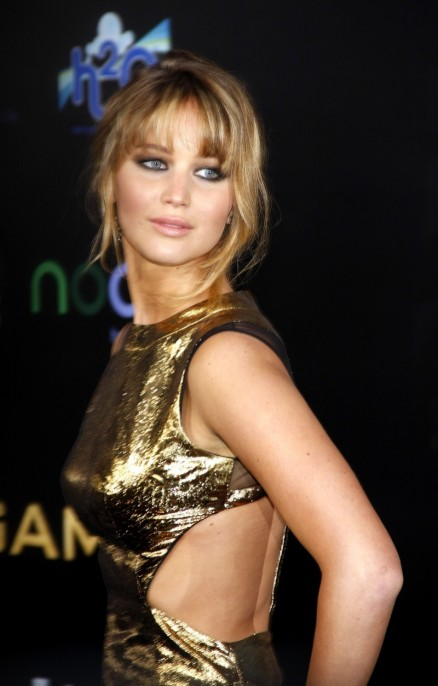 Jennifer Lawrence Bangs Wavy Updo