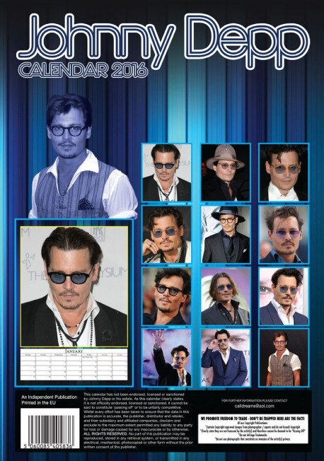 Johnny Depp Calendar Back