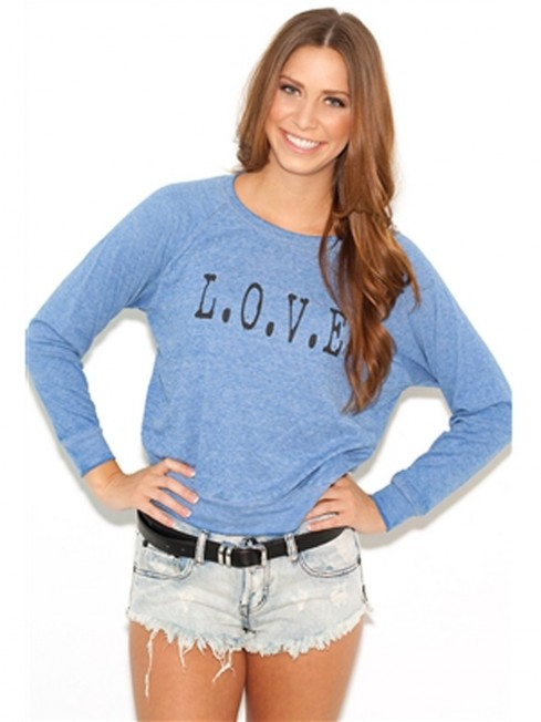 Jet By John Eshaya Love Sweatshirt In Blue As Seen On Kate Beckinsale Body