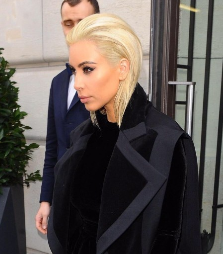 Kim Kardashians Balmain Fall Fashion Show Blond Hairstyle