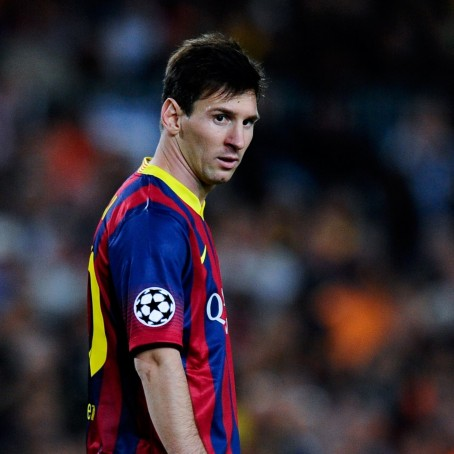 Hi Res Lionel Messi Of Fc Barcelona Looks On During The Uefa Crop Exact