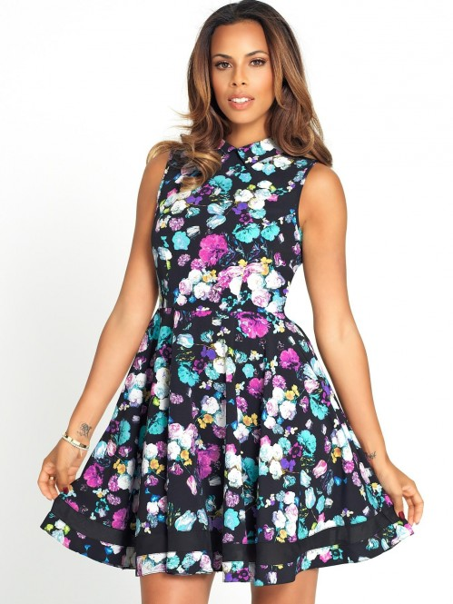 Rochelle Humes Mesh Panel Floral Print Prom Dress Standard