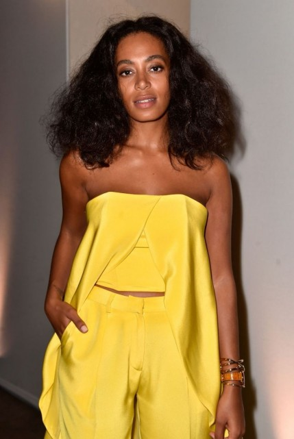 Solange Knowless Iwc Art Basel Event Christian Siriano Spring Yellow Asymmetrical Top And Cigarette Pants Hot