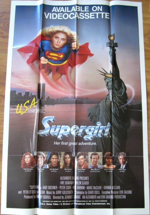 Supergirl Original Movie Video Release Full Size Poster Helen Slater Movie