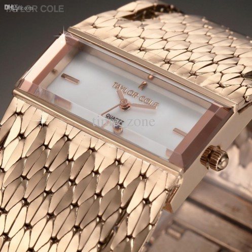 Taylor Cole Fashion Rose Gold Rectangle Dial Fashion