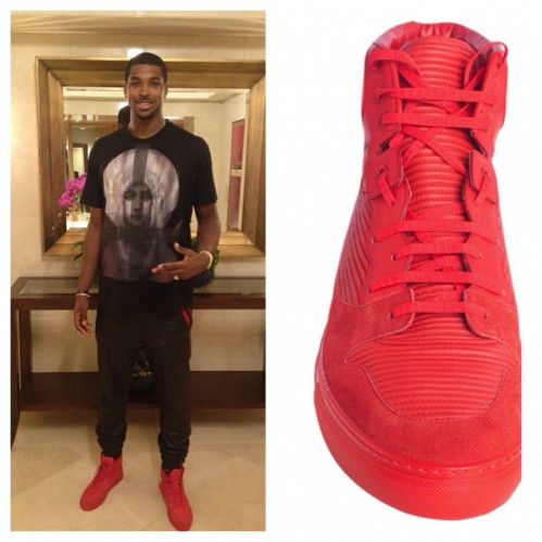 Tristan Thompson Instagram Red Balenciaga Sneakers Pleated Hightop