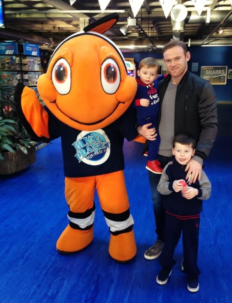 Wayne Rooney Holding Youngest Son Klay With His Older Brother Kai And Charlie The Clownfish At Blue Planet Aquarium Wife