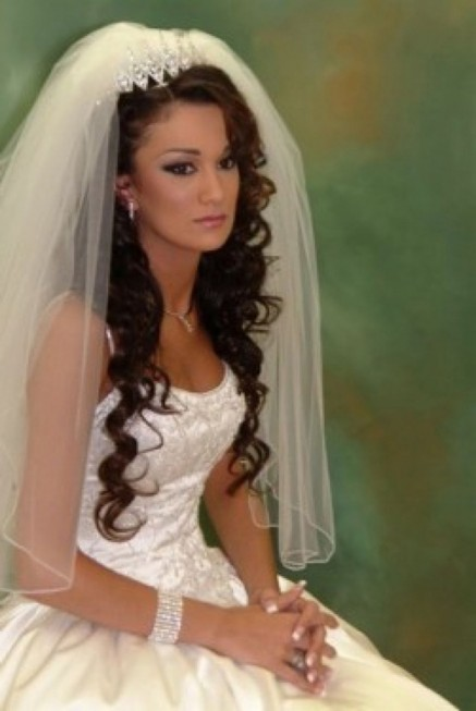 Long Wedding Hairstyles With Veil Cff With Veil