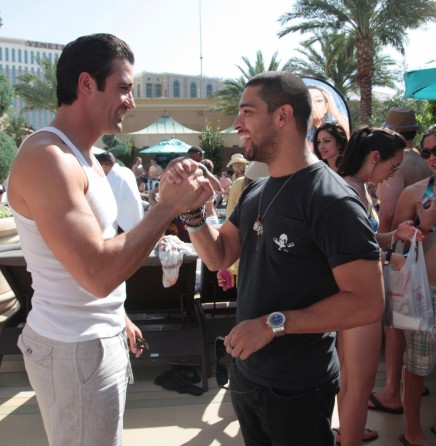 Gilles Marini And Wilmer Valderrama Catch Up And Enjoy The Luxelife At Azure Pool At The Palazzo