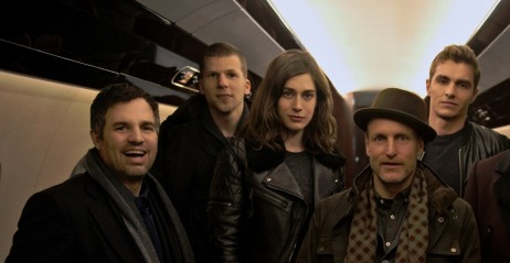 Mark Ruffalo Jesse Eisenberg Lizzy Caplan Woody Harrelson Dave Franco Daniel Radcliffe Michael Caine On Set Of Now You See Me Slice